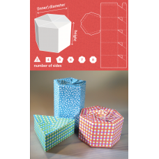 Custom /  Personalized Gift  Box Packaging - Triangle > Octagon shape: Diameter 6cm x 10cm (H)